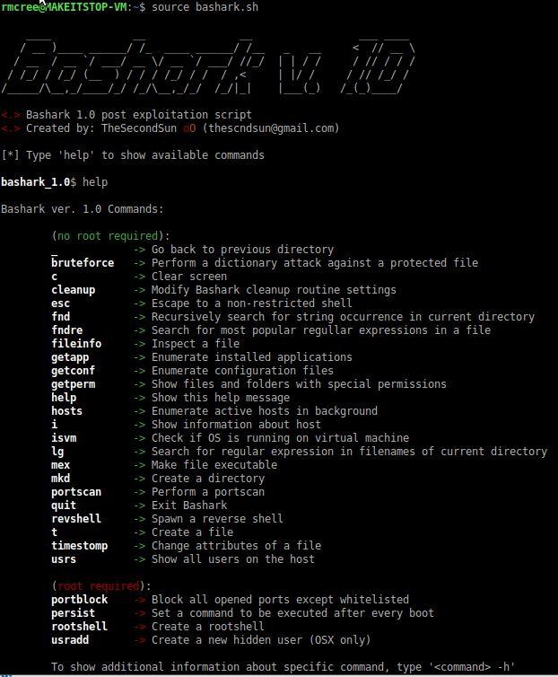 Toolsmith Snapshot: Bashark - Linux post-exploitation toolkit